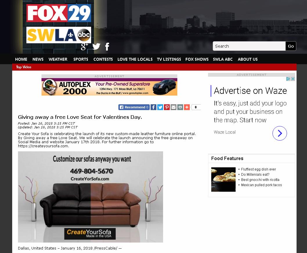 KVHP Fox29 Loveseat Giveaway Valentine | Create Your Sofa