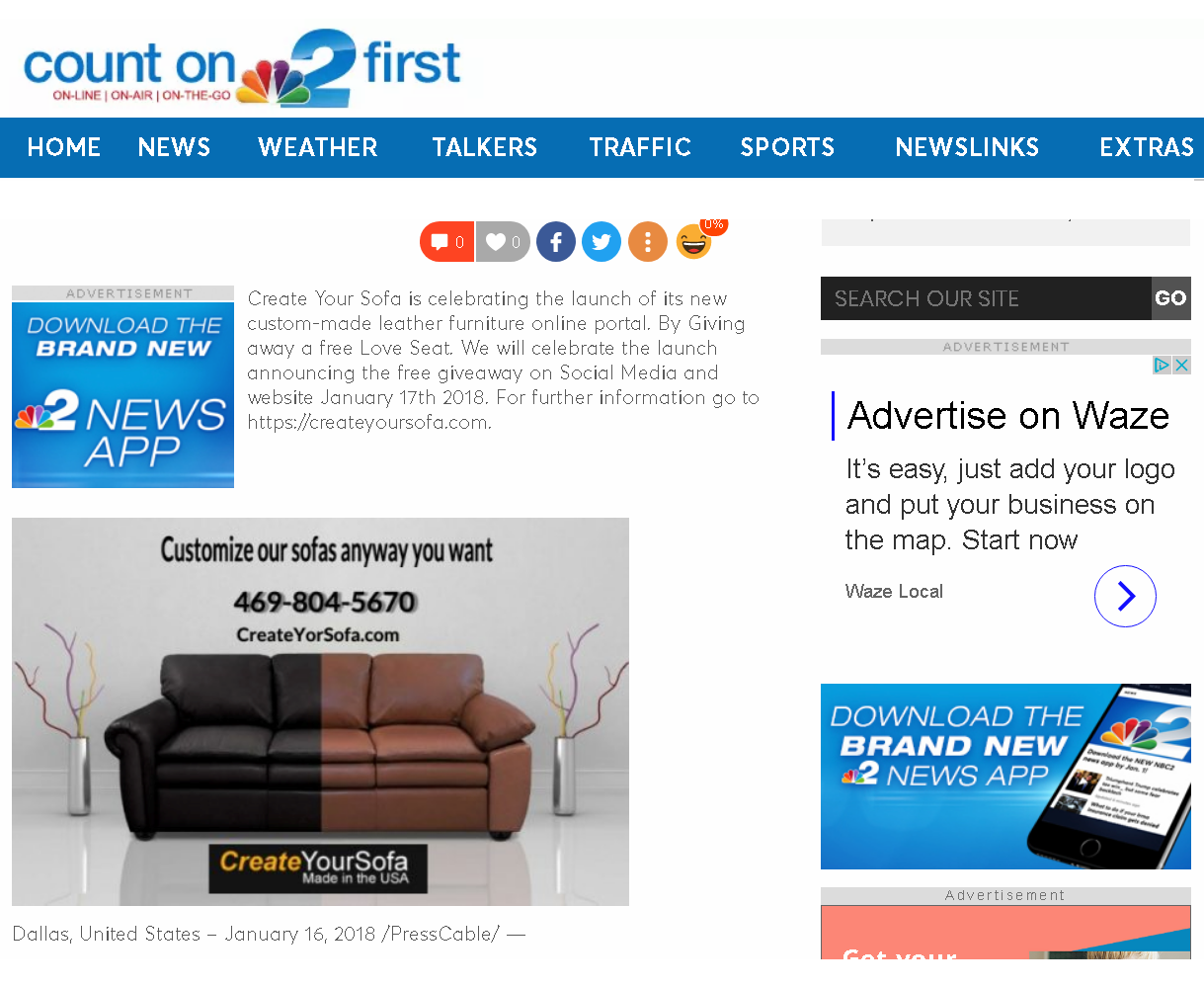 Loveseat Giveaway Count on NBC2 first | Create Your Sofa