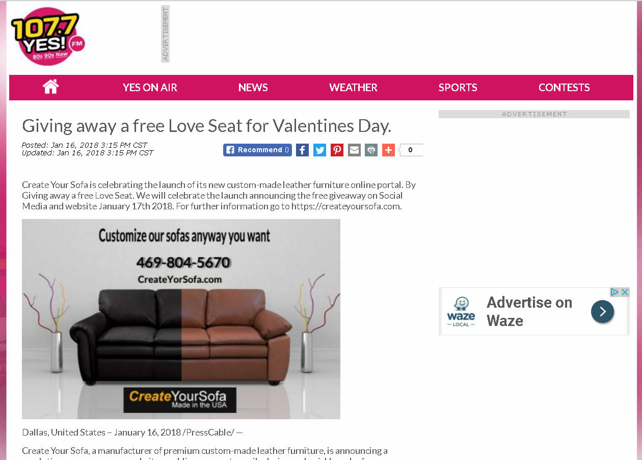YesFM 107 7 Loveseat Giveaway | Create Your Sofa